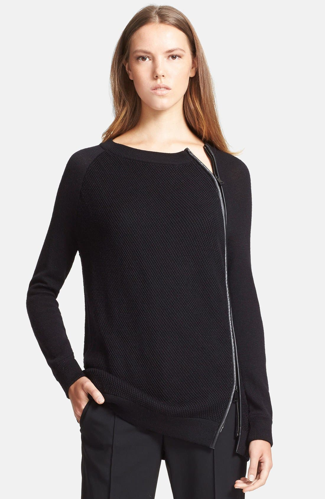 Alternate Image 1 Selected - Vince Leather Trim Texture Sweater