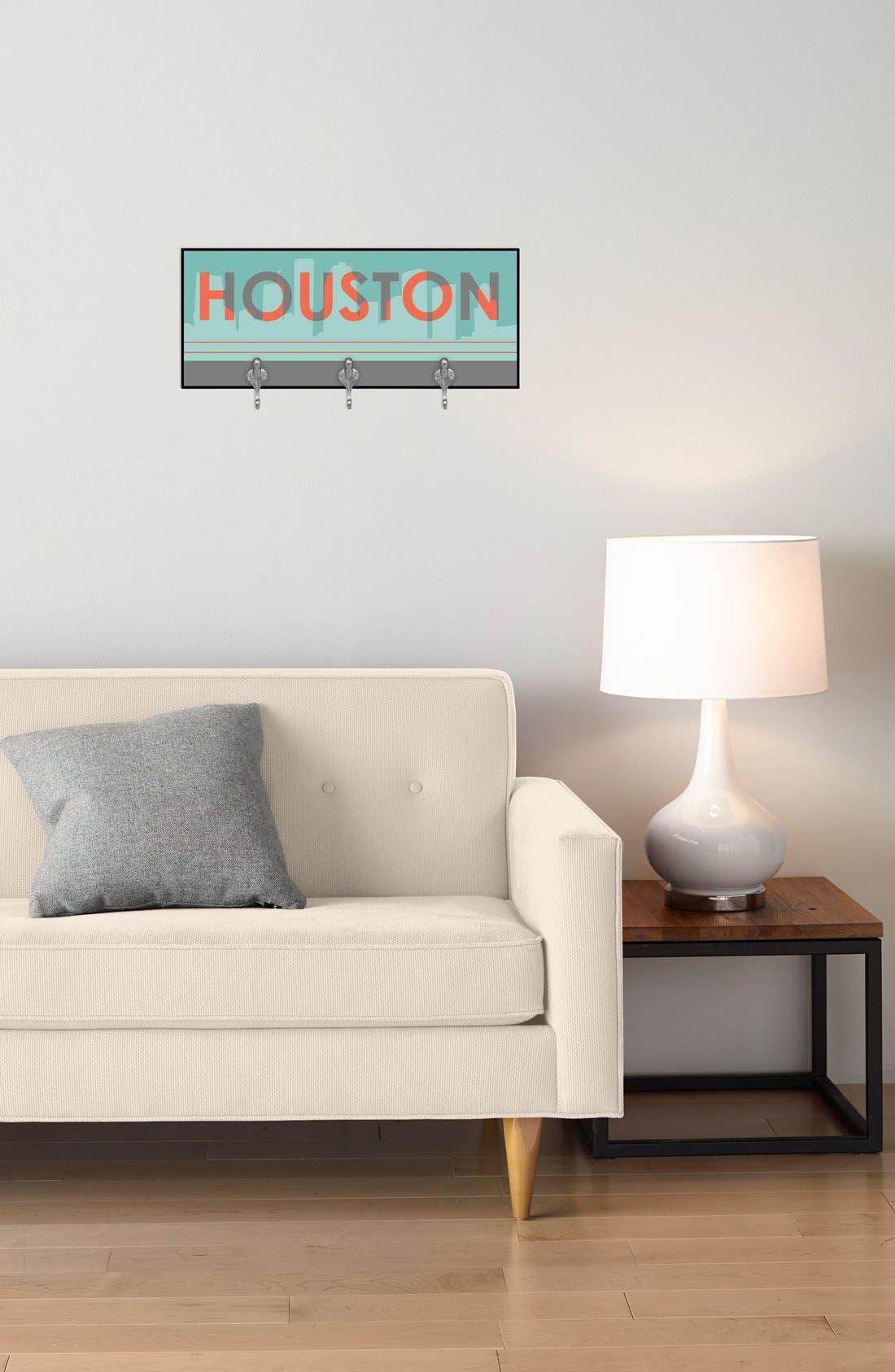 Alternate Image 2  - Green Leaf Art 'Houston Skyline' Decorative Wall Hooks