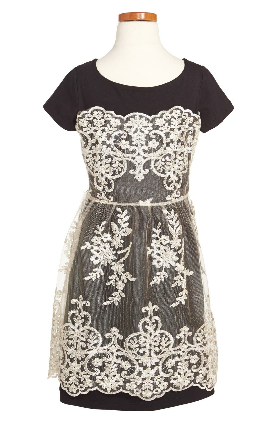 Alternate Image 2  - Fiveloaves Twofish Jersey Knit Dress with Lace (Big Girls)