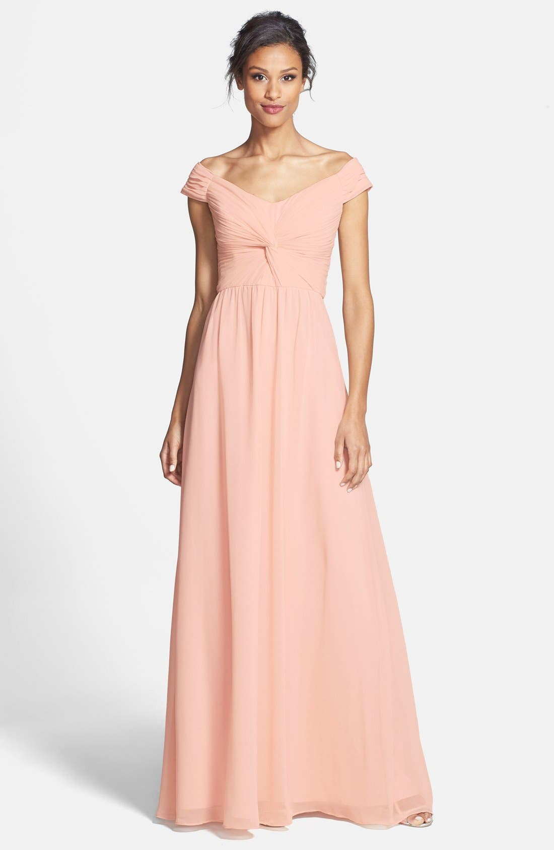 Main Image - ERIN erin fetherston 'Clarisse' Off the Shoulder Front Twist Chiffon Gown