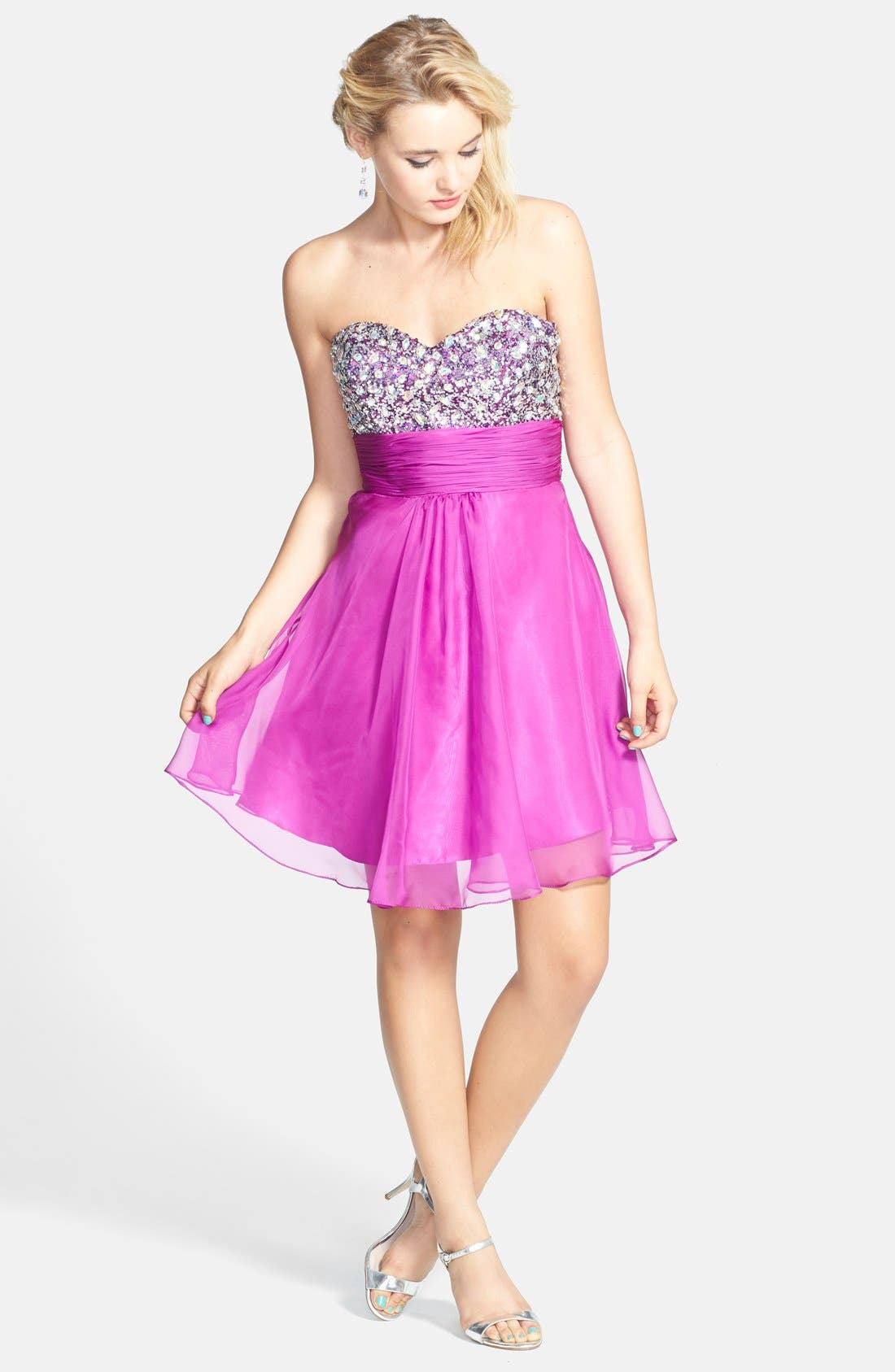Alternate Image 3  - Faviana Embellished Strapless Chiffon Fit & Flare Dress