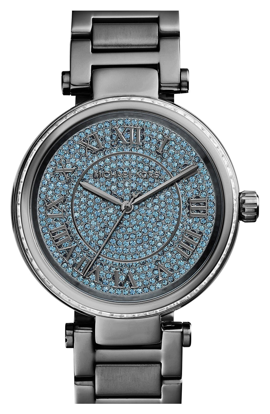 Main Image - Michael Kors 'Skylar' Pavé Dial Crystal Bezel Bracelet Watch, 42mm