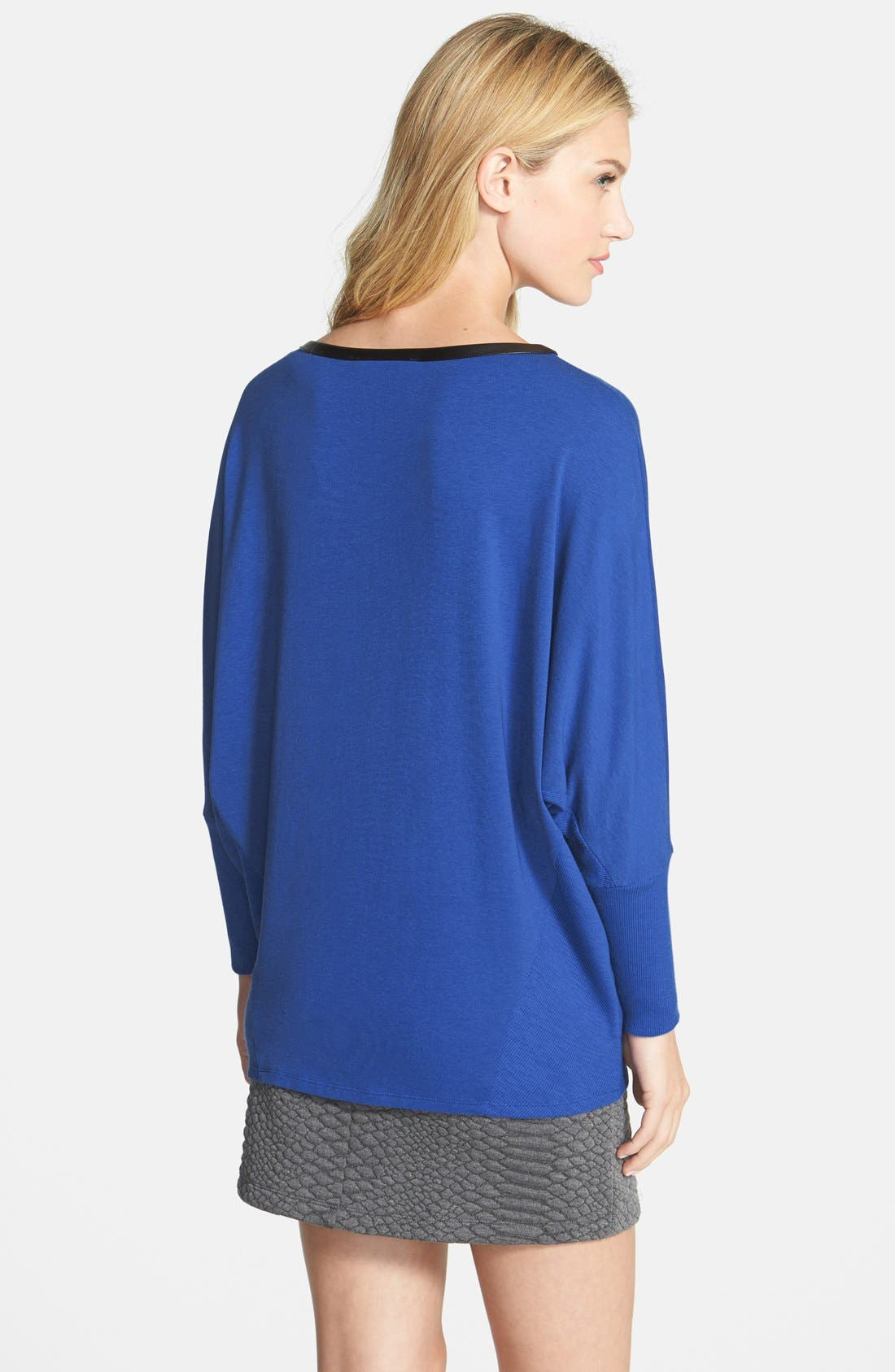 Alternate Image 2  - Two by Vince Camuto 'Saturday' Faux Leather Trim Top