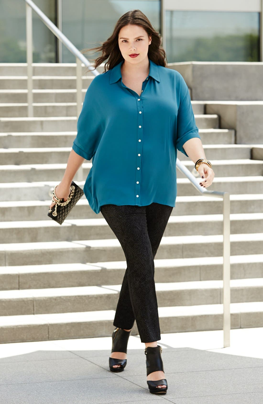 Main Image - Bellatrix Tunic Top & NYDJ Stretch Skinny Jeans (Plus Size)
