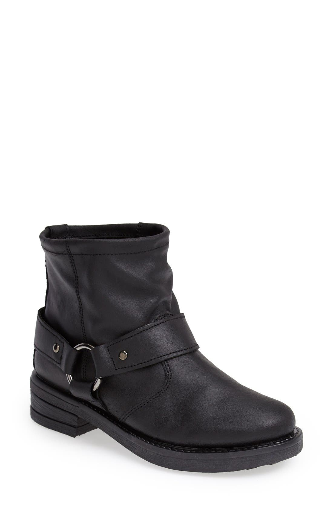 Main Image - Topshop 'Buster' Leather Harness Biker Boot (Women)