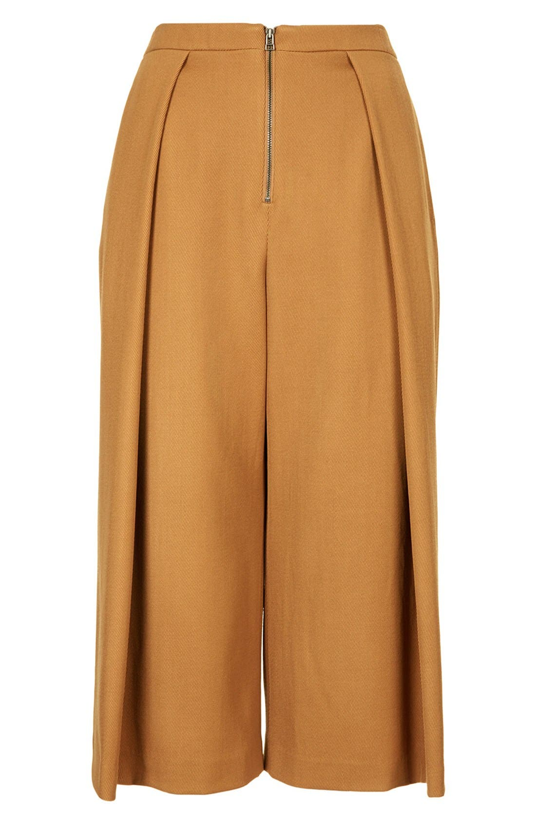 Alternate Image 3  - Topshop Unique Pleated Crop Wool Trousers