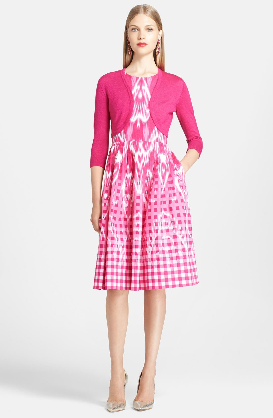 Alternate Image 3  - Oscar de la Renta Ikat Print Poplin Dress