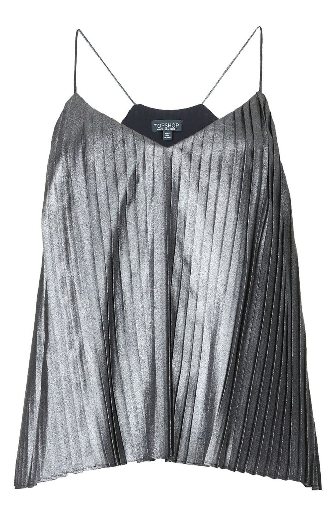 Alternate Image 3  - Topshop Metallic Pleat Camisole