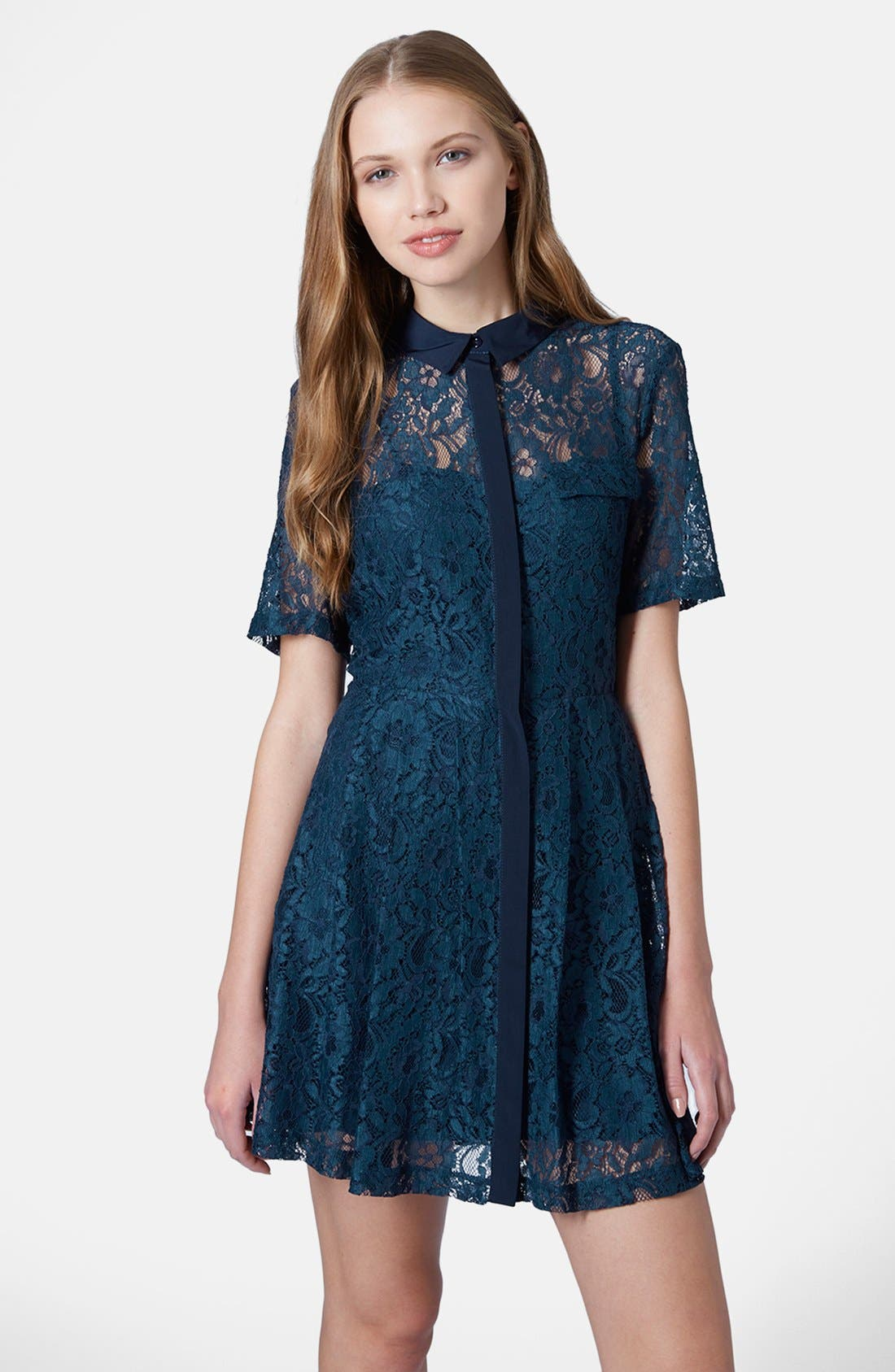 Alternate Image 1 Selected - Topshop Lace Shirt Dress