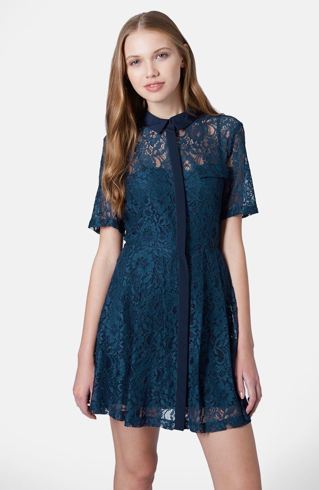 Main Image - Topshop Lace Shirt Dress