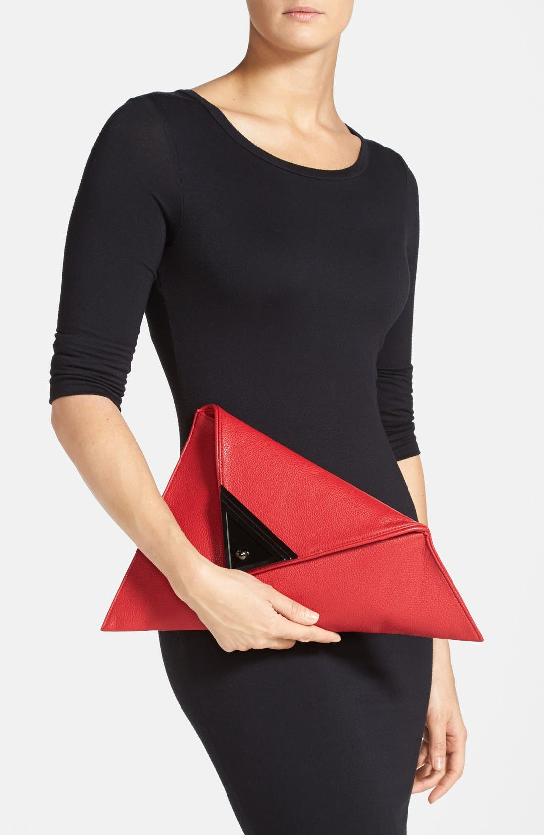 Alternate Image 2  - Sondra Roberts 'Modern Prep' Faux Leather Triangle Clutch