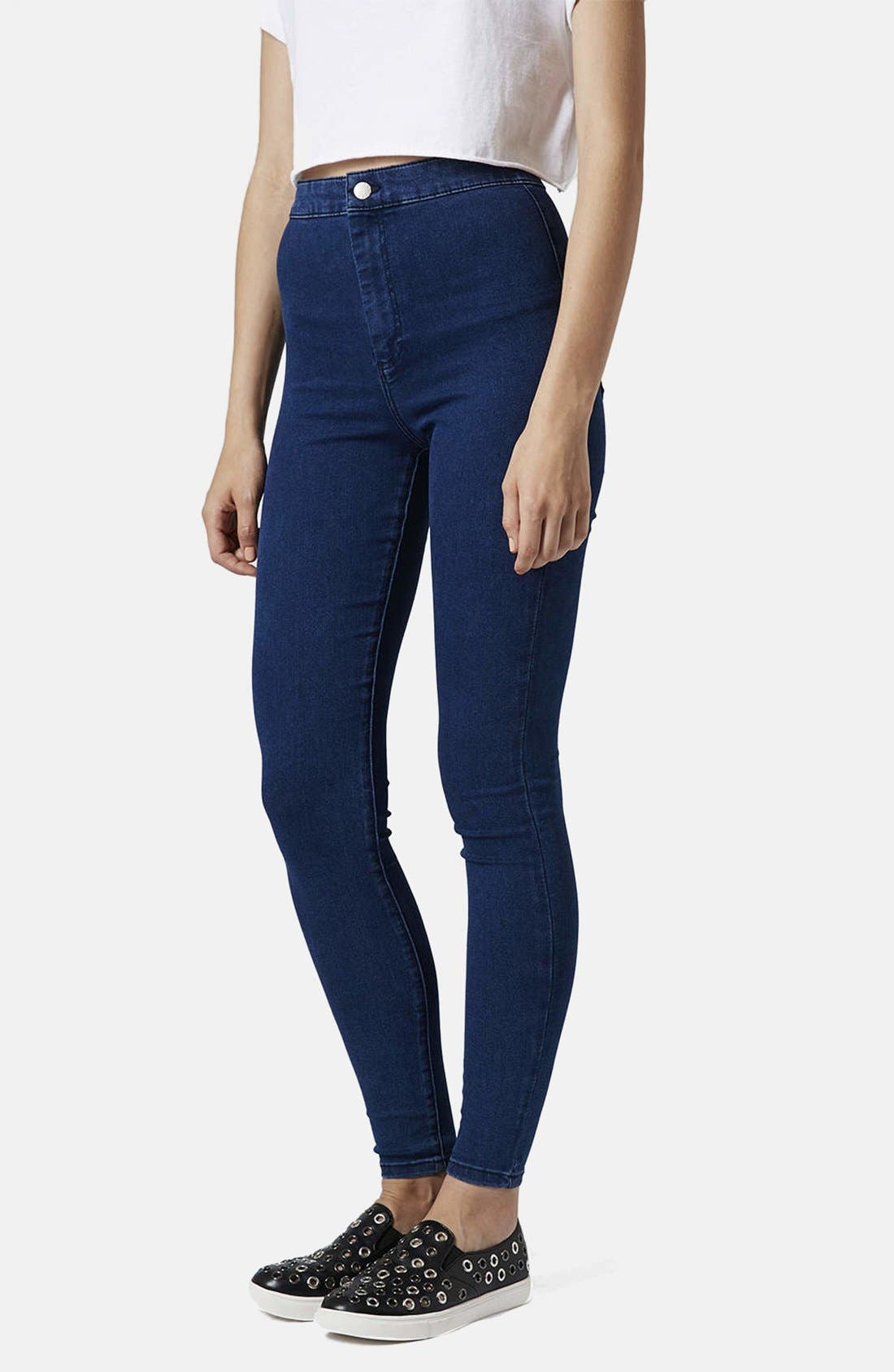 Alternate Image 1 Selected - Topshop Moto 'Joni' Skinny Jeans (Dark Stone) (Short)