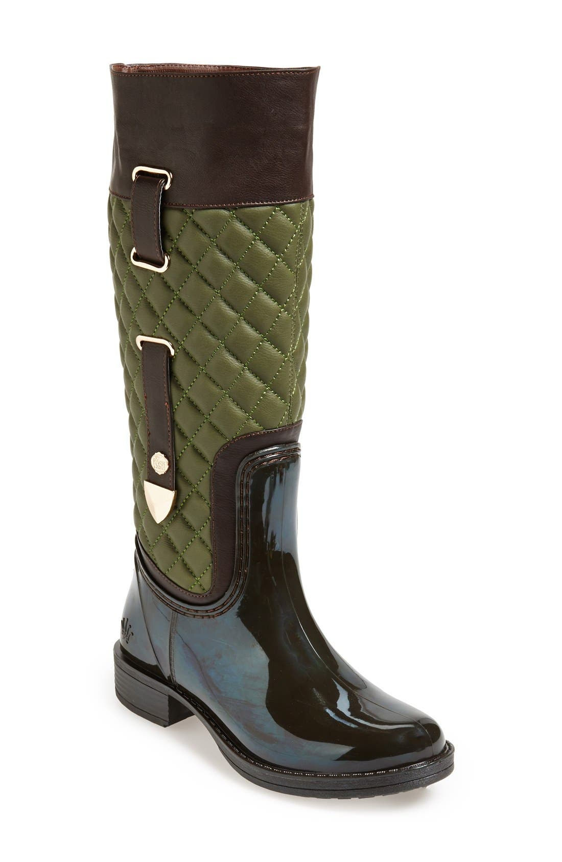 Main Image - Posh Wellies 'Quizz' Quilted Tall Rain Boot (Women)