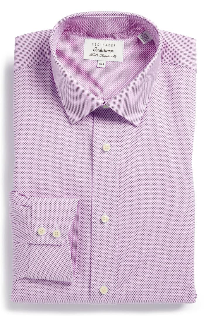 Ted baker london extra trim fit print dress shirt nordstrom for Extra trim fit dress shirt