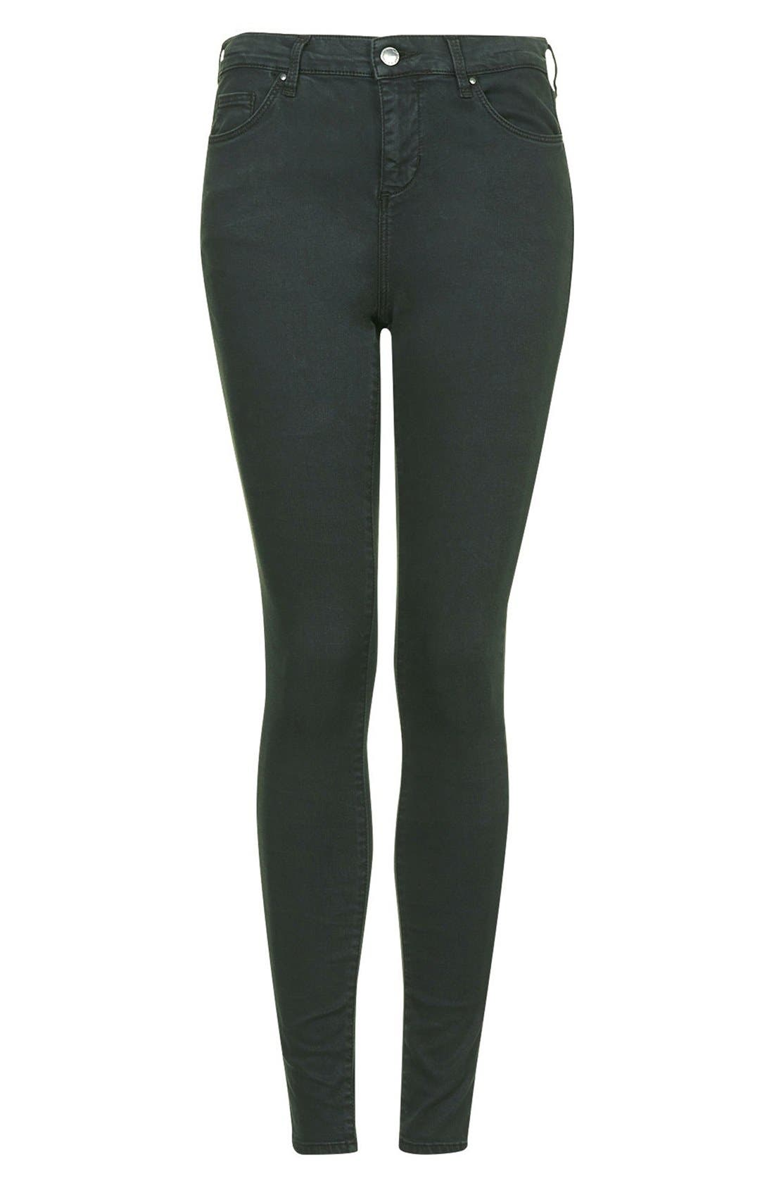 Alternate Image 3  - Topshop Moto 'Leigh' Forest Jeans (Dark Green)