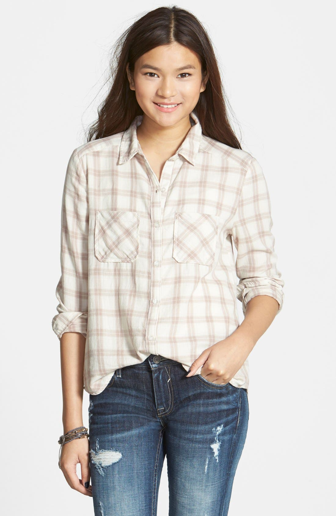 Main Image - BP. 'Easy' Plaid Shirt (Juniors)