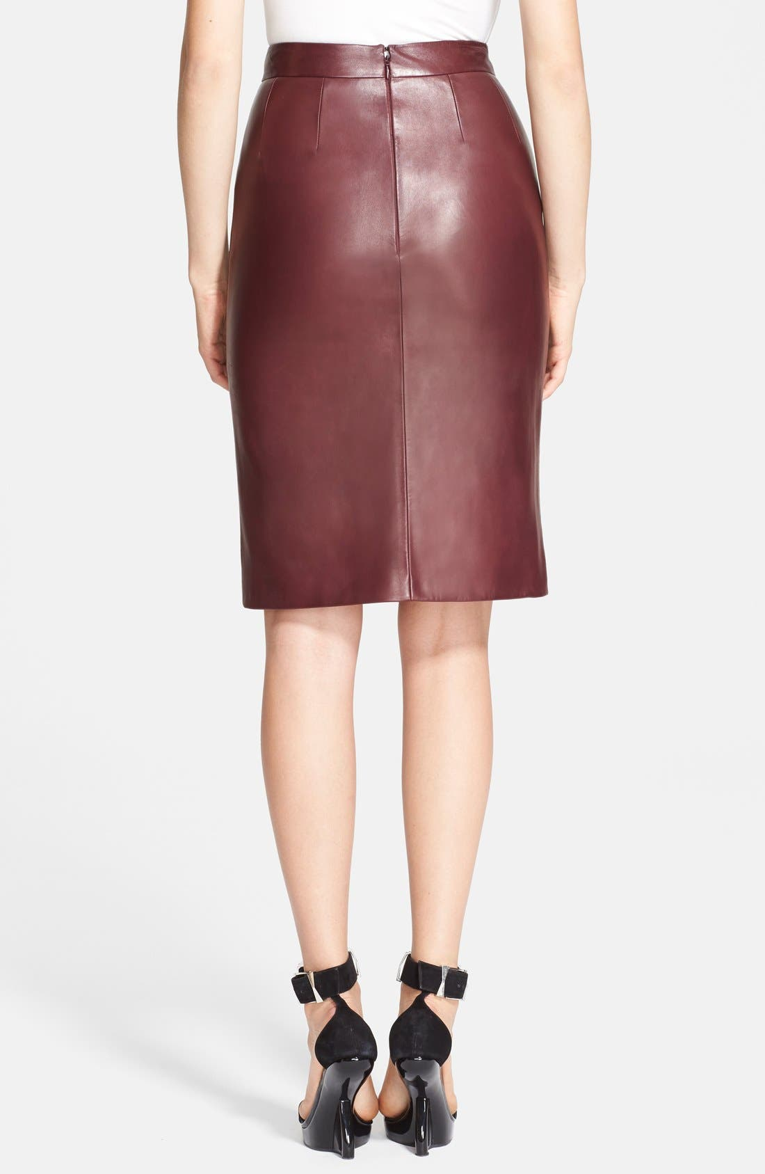 Alternate Image 2  - Alexander McQueen Leather Pencil Skirt