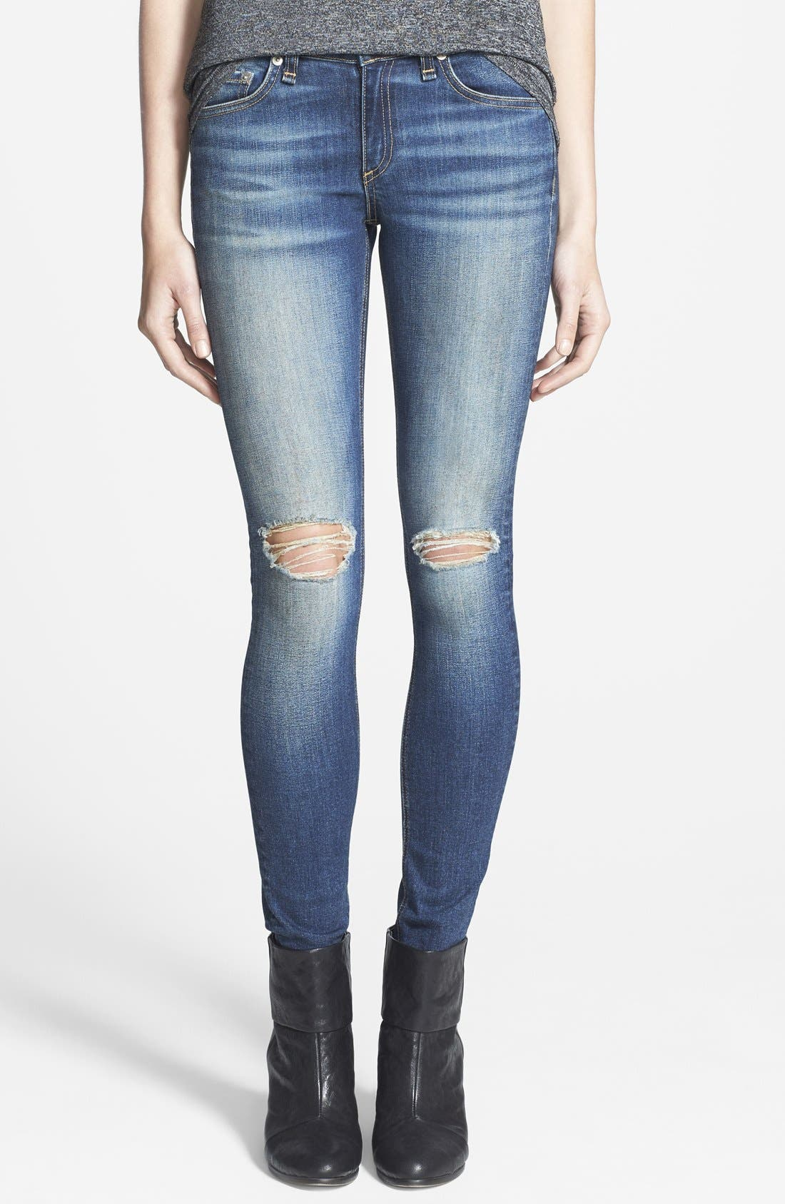 Alternate Image 1 Selected - rag & bone/JEAN 'The Skinny' Stretch Jeans (Pacifico)