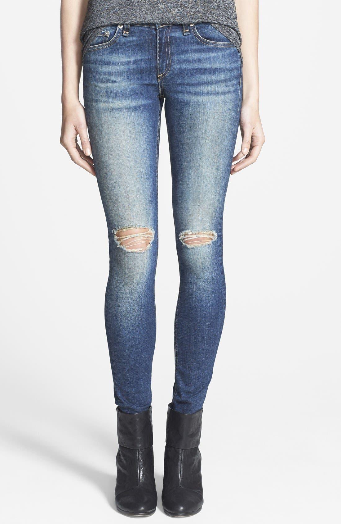 Main Image - rag & bone/JEAN 'The Skinny' Stretch Jeans (Pacifico)