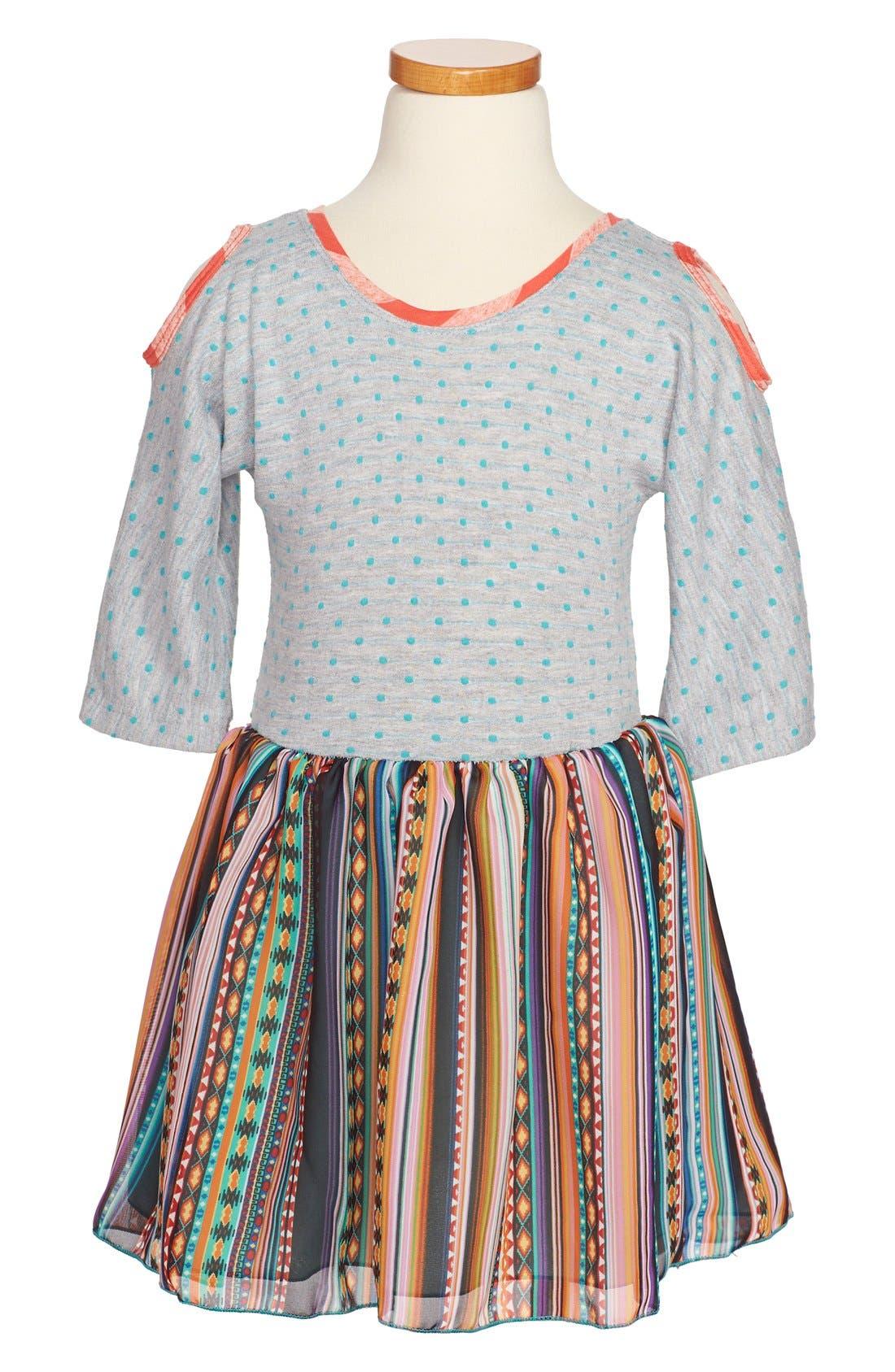 Main Image - Twirls & Twigs Knit-to-Woven Mixed Print Dress (Little Girls & Big Girls)