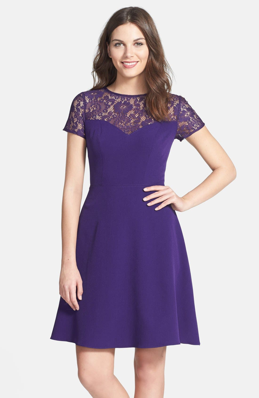 Alternate Image 1 Selected - Adrianna Papell Lace & Crepe Fit & Flare Dress