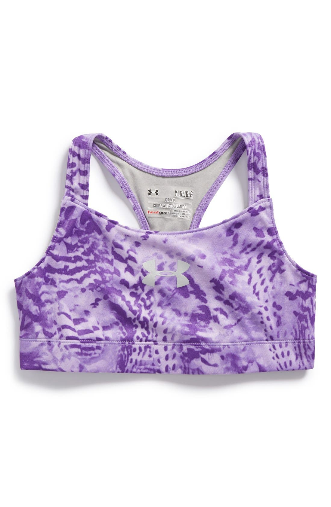 Alternate Image 1 Selected - Under Armour 'Dazzle' HeatGear® Sports Bra (Big Girls)