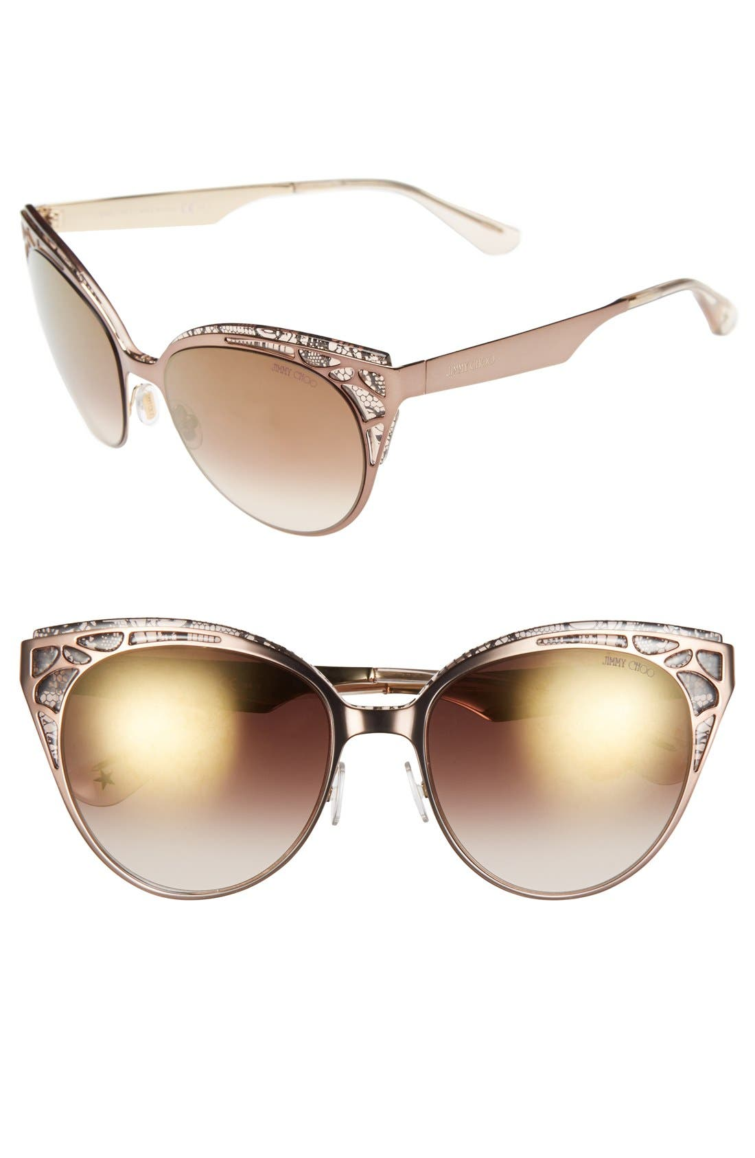 Alternate Image 1 Selected - Jimmy Choo 'Estelle' Metal Cat Eye Crystal Lace 55mm Sunglasses