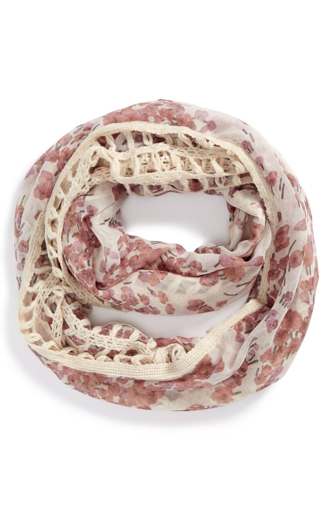 Alternate Image 1 Selected - BP. 'Floral Windowpane' Mixed Media Infinity Scarf (Juniors)