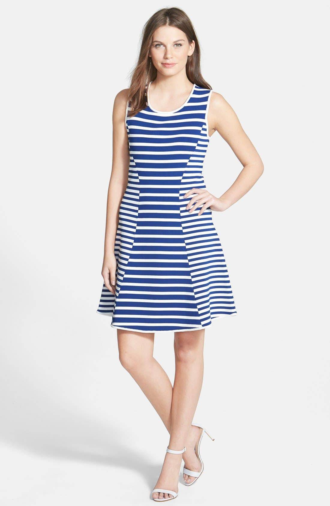 Main Image - Pink Tartan Stripe Fit & Flare Dress