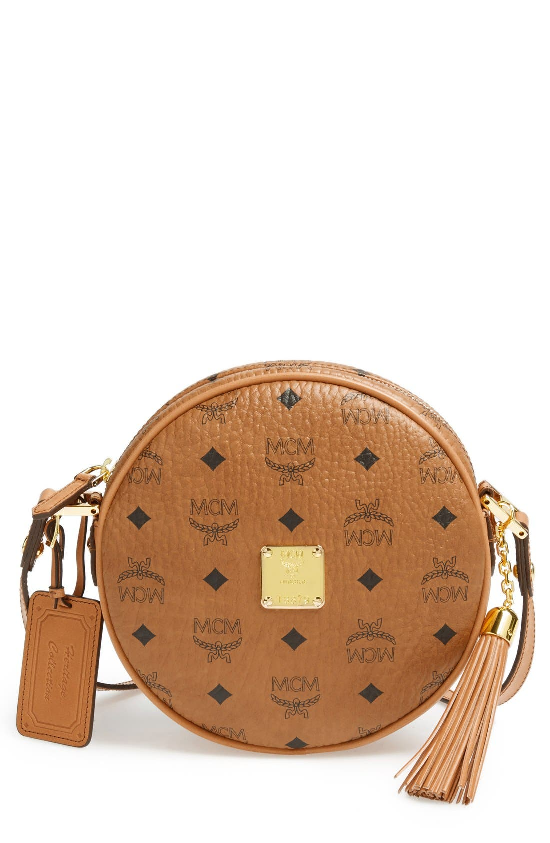Alternate Image 1 Selected - MCM 'Heritage Tambourine' Coated Canvas Crossbody Bag