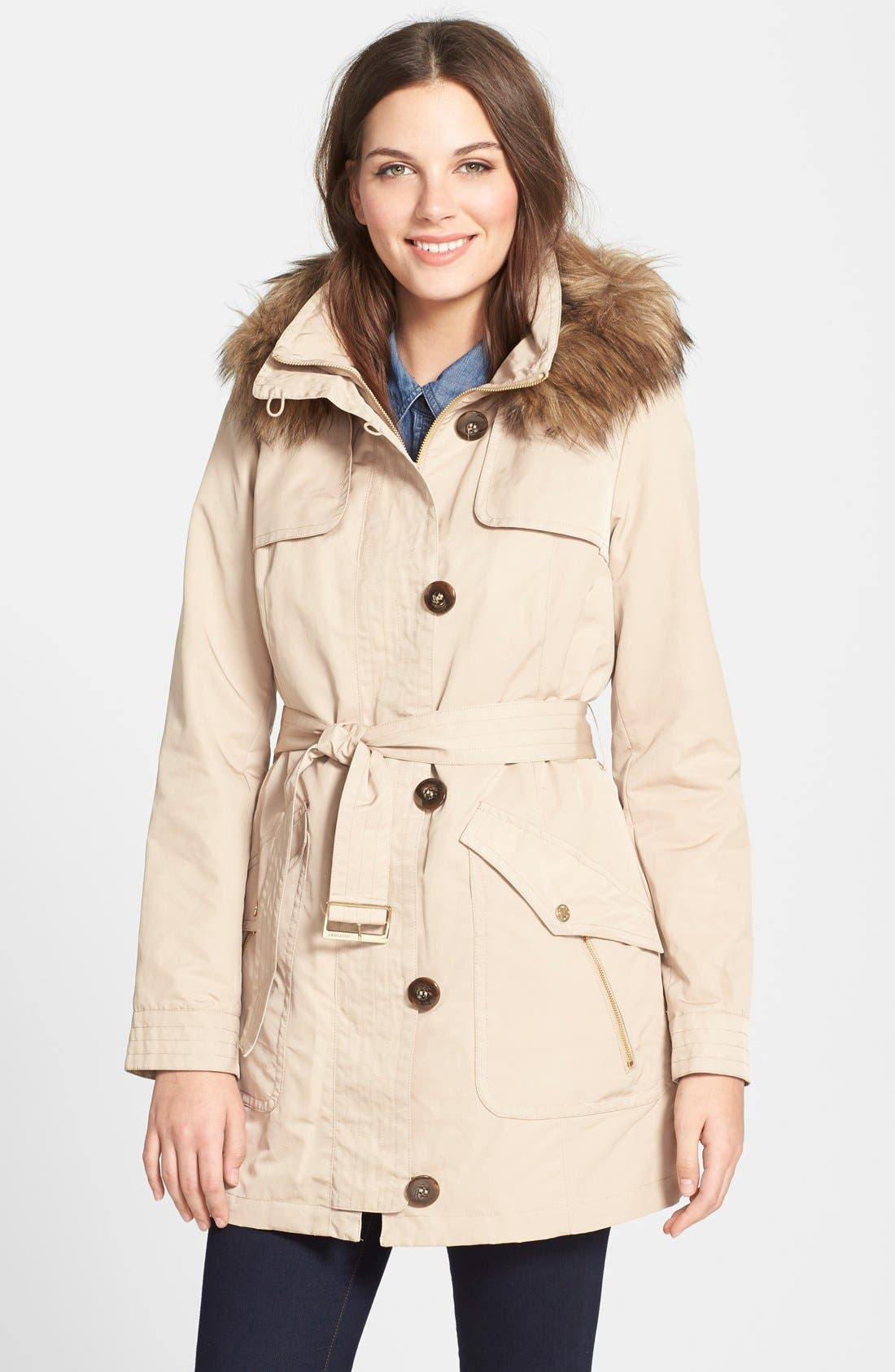 Alternate Image 1 Selected - Ellen Tracy Belted Trench Coat with Detachable Faux Fur Trim Hood and Liner (Online Only)