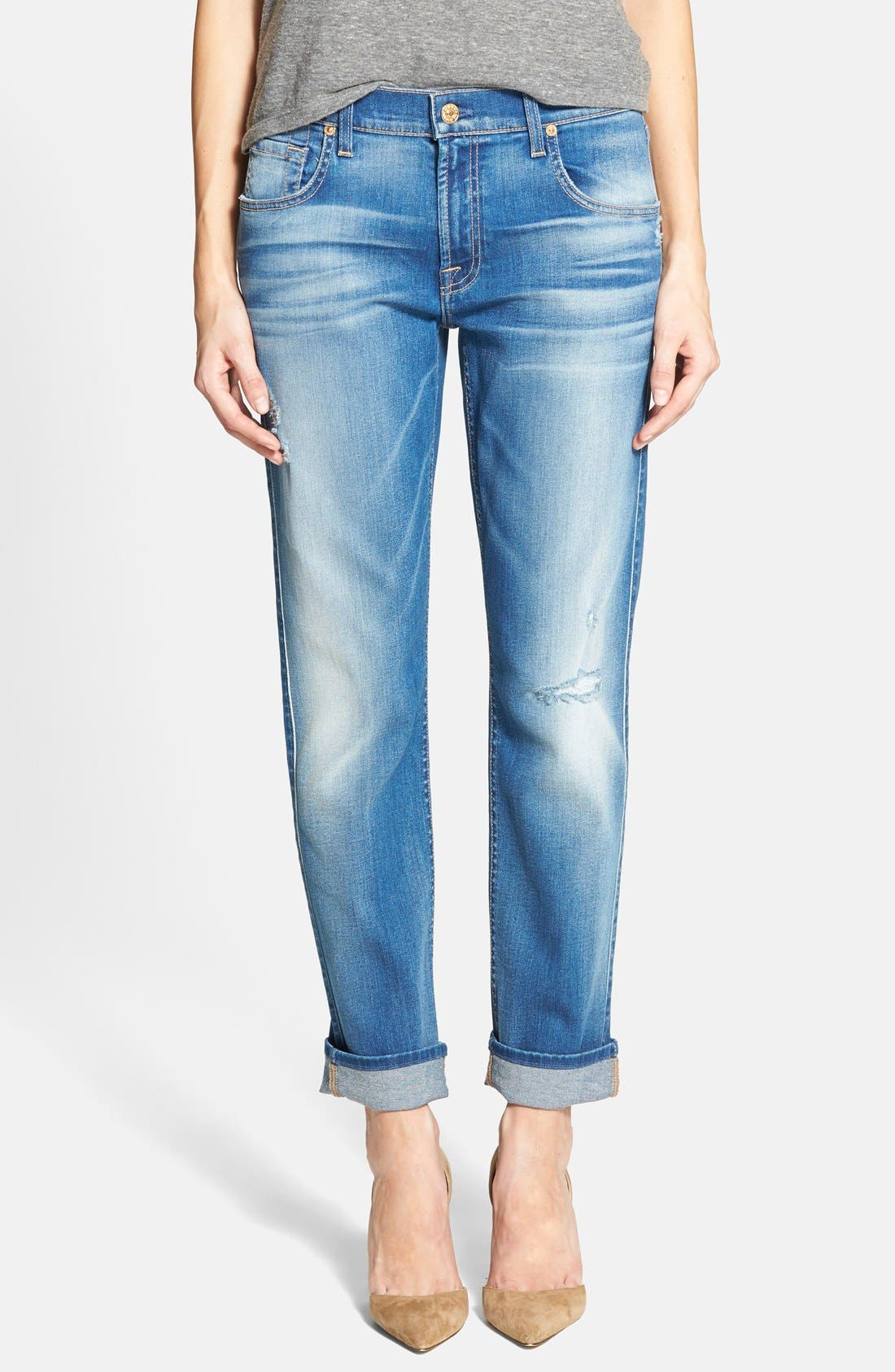 Main Image - 7 For All Mankind® Relaxed Skinny Jeans (Bright Skies Blue)