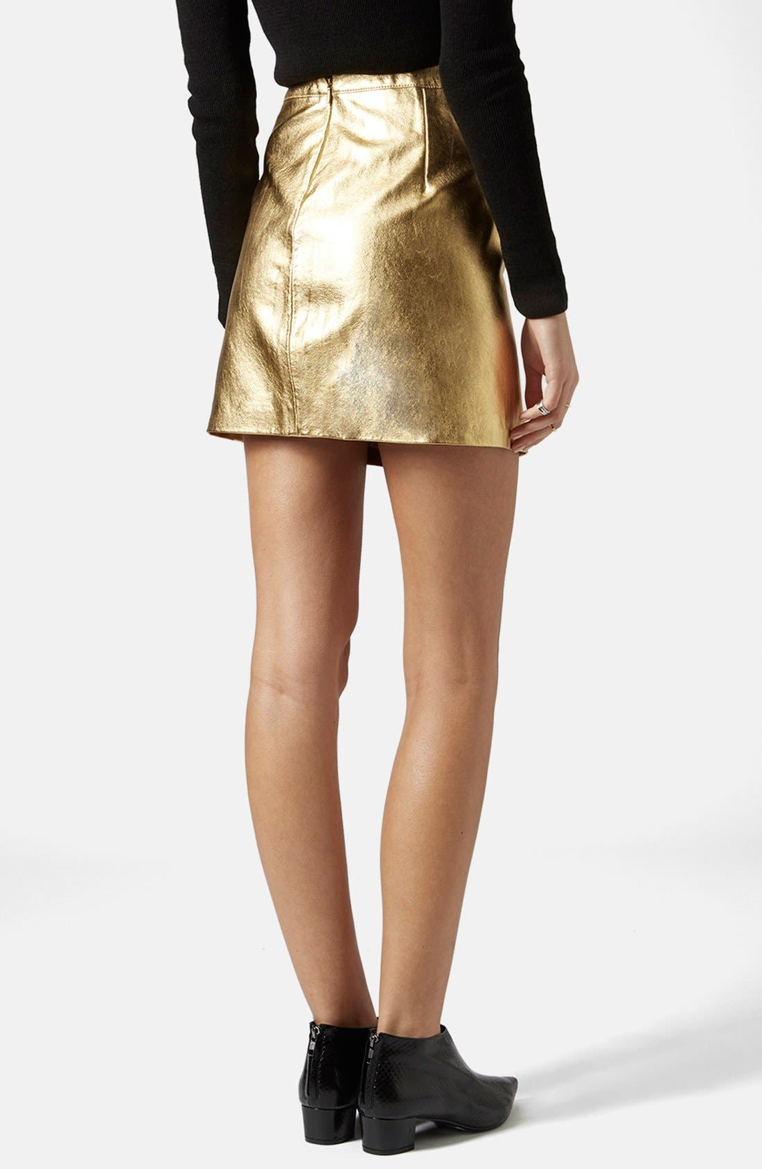 Alternate Image 2  - Topshop Golden Miniskirt