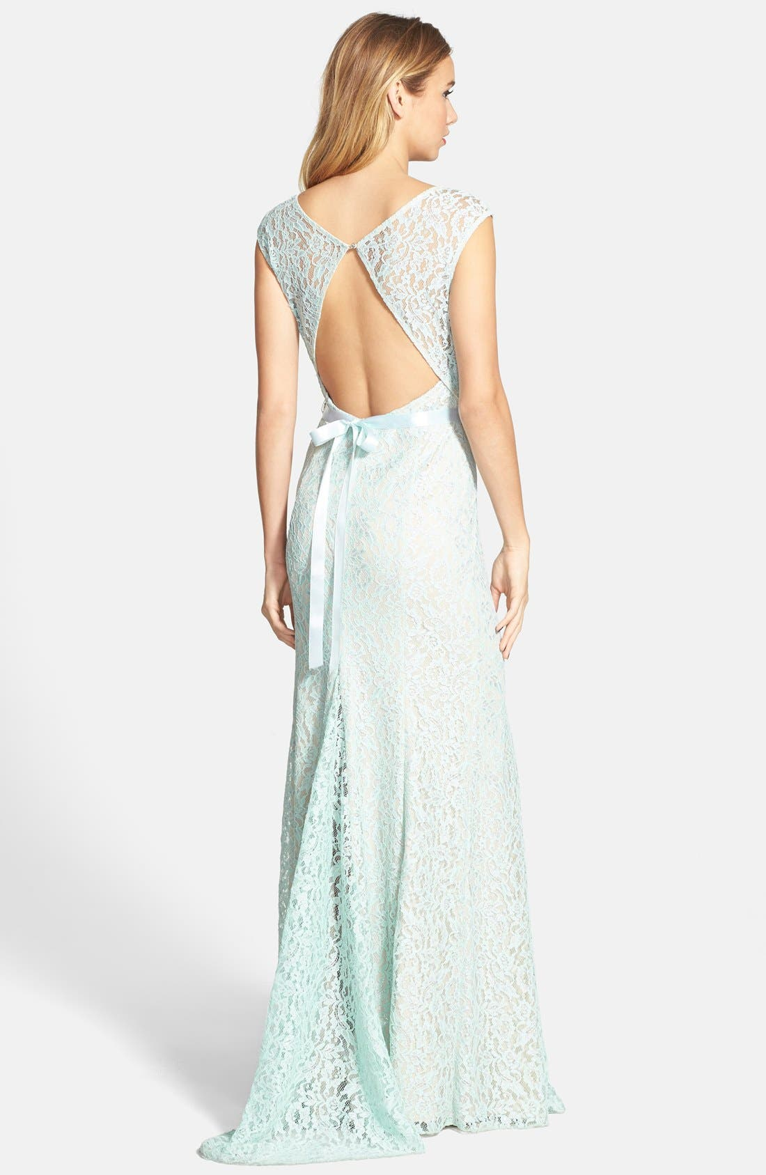 Alternate Image 2  - Sequin Hearts Embellished Metallic Lace Gown (Juniors)