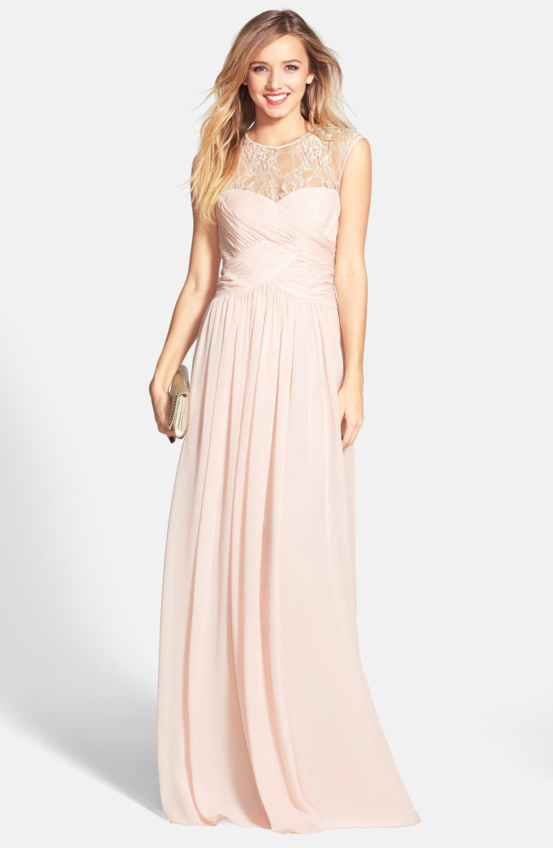 Alternate Image 1 Selected - JS Boutique Lace Yoke Ruched Chiffon Gown