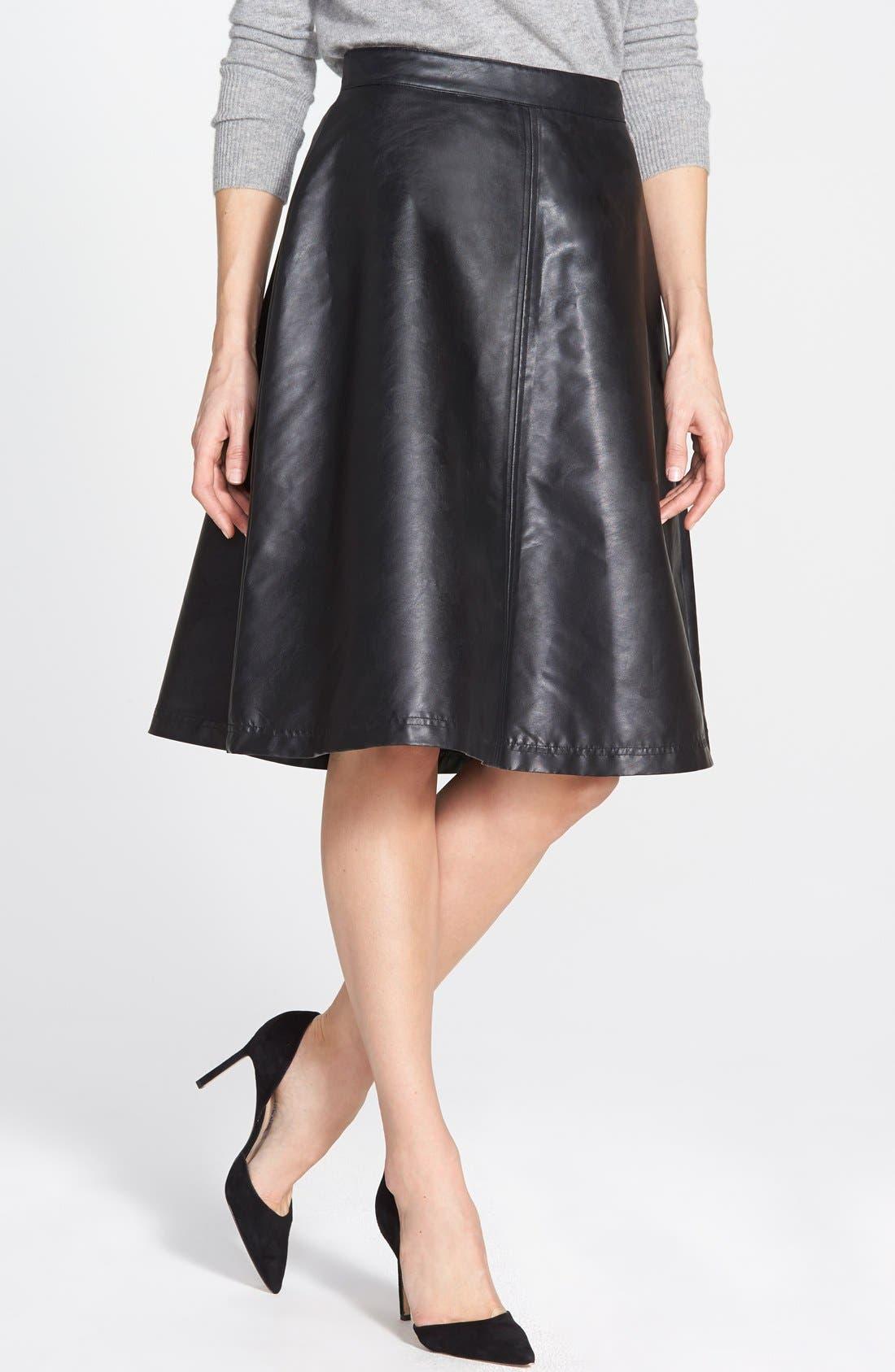 Alternate Image 1 Selected - Halogen® Faux Leather A-Line Skirt (Regular & Petite)