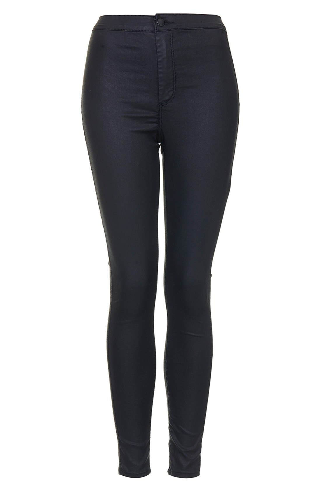 Alternate Image 3  - Topshop Moto 'Joni' Coated Skinny Jeans (Black)