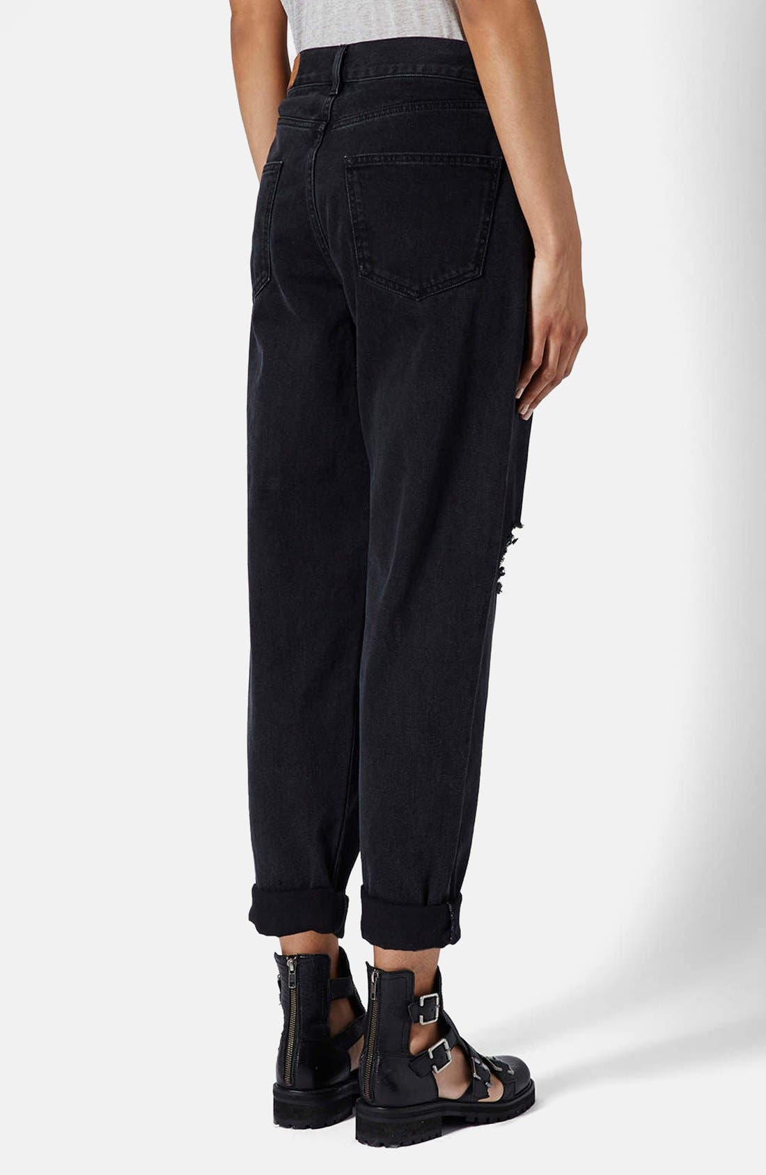 Alternate Image 2  - Topshop Boutique Ripped Baggy Jeans (Black)