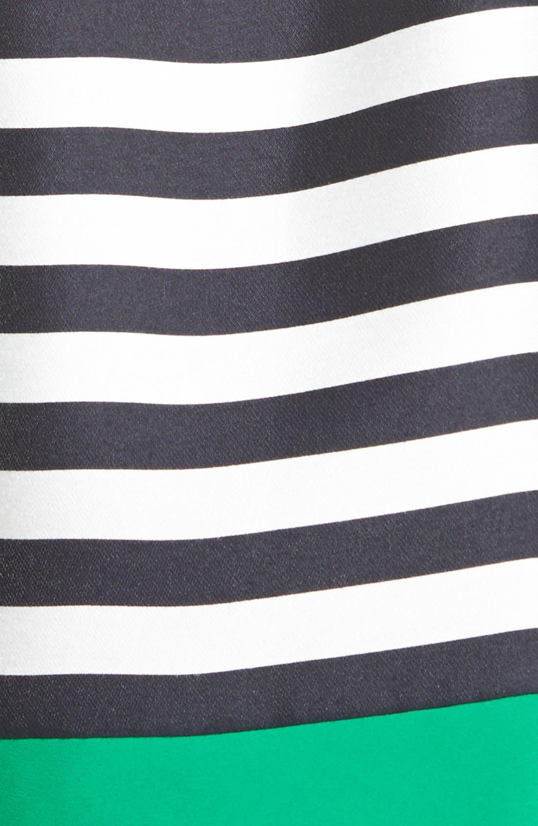 Alternate Image 3  - Eliza J Contrast Trim Stripe Jacquard Fit & Flare Dress (Plus Size)