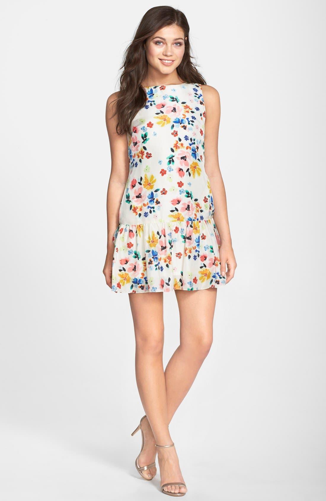 Alternate Image 1 Selected - CeCe by Cynthia Steffe Floral Print Drop Waist Dress (Regular & Petite)