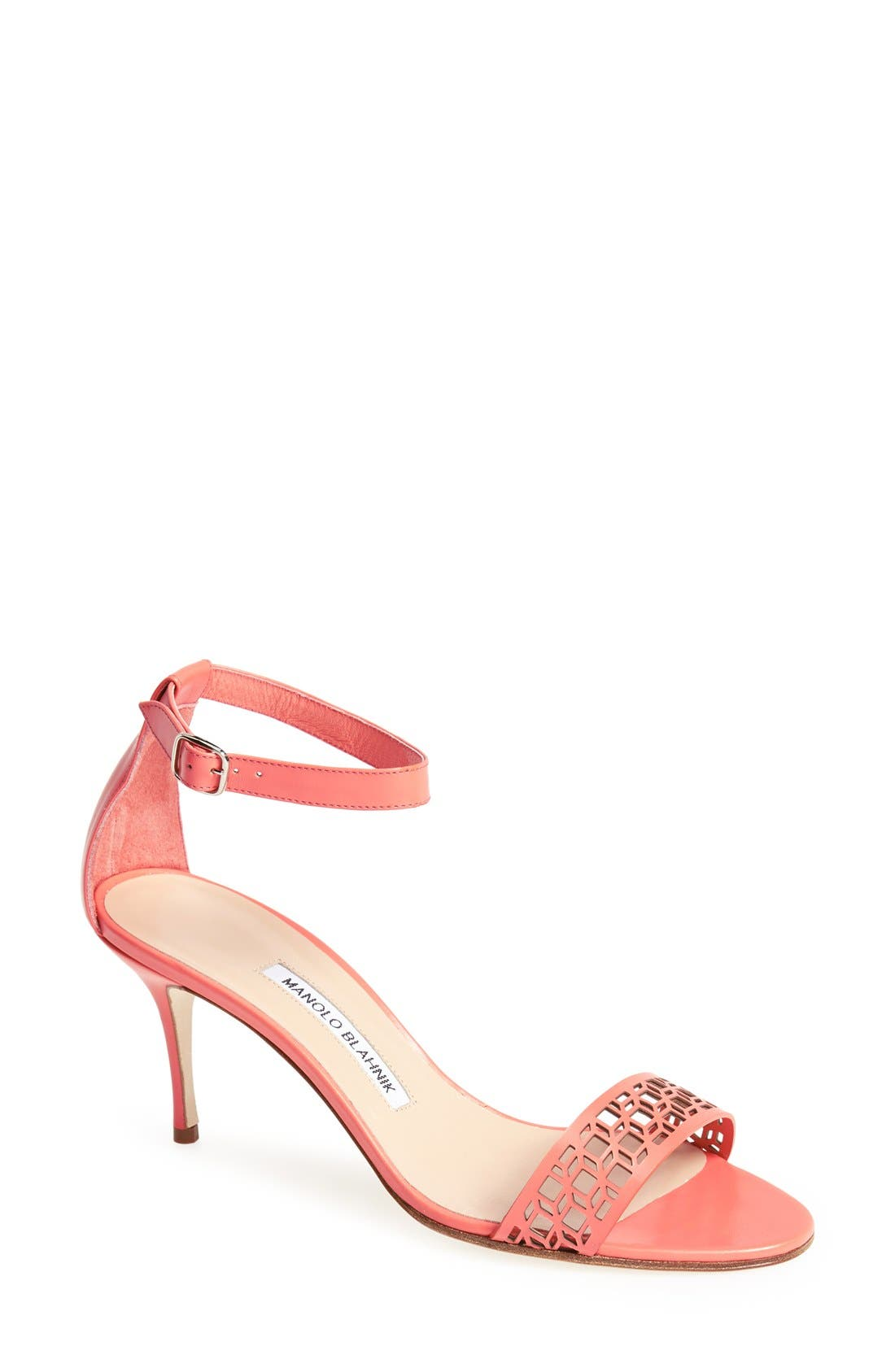 Alternate Image 1 Selected - Manolo Blahnik 'Maurila' Leather Ankle Strap Sandal (Women)
