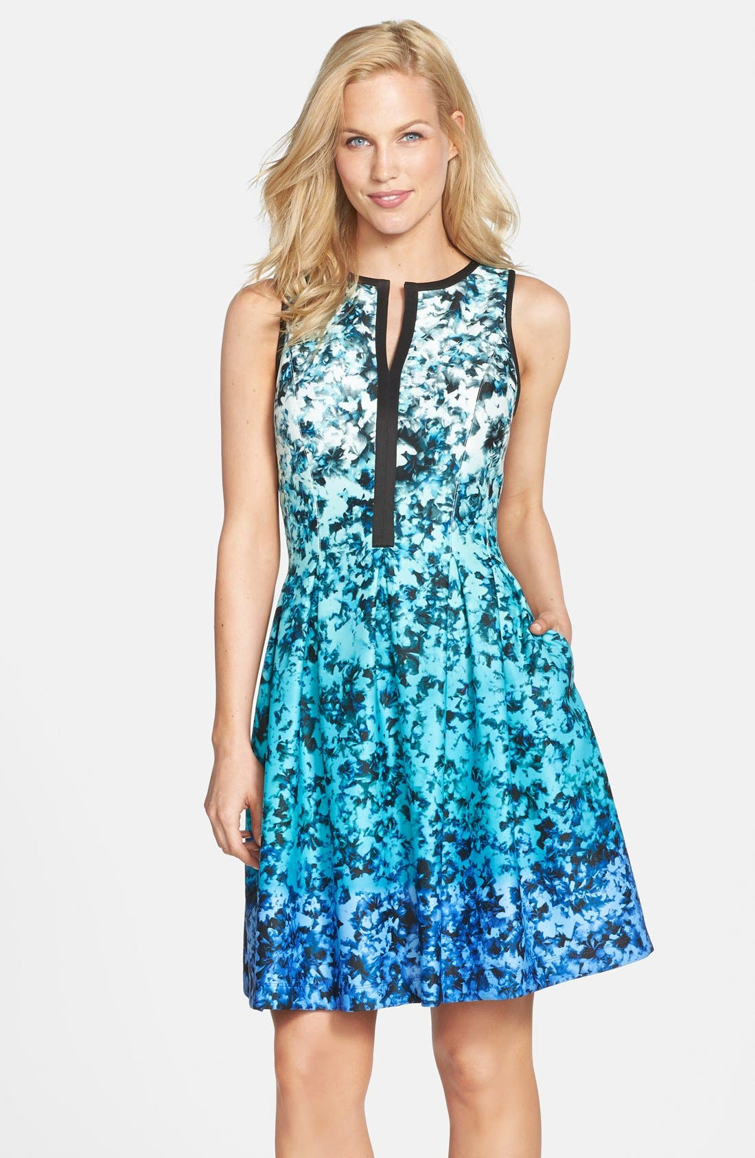 Alternate Image 1 Selected - Vince Camuto Ombré Floral Print Sleeveless Fit & Flare Dress (Regular & Petite)