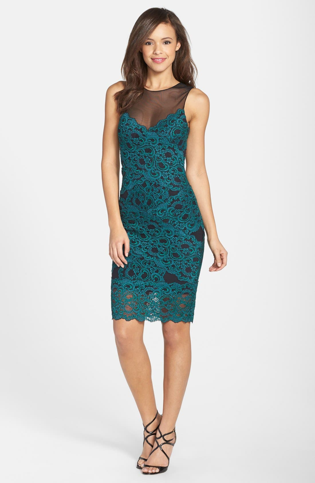 Alternate Image 3  - Nicole Miller Illusion Yoke Stretch Lace Cocktail Dress