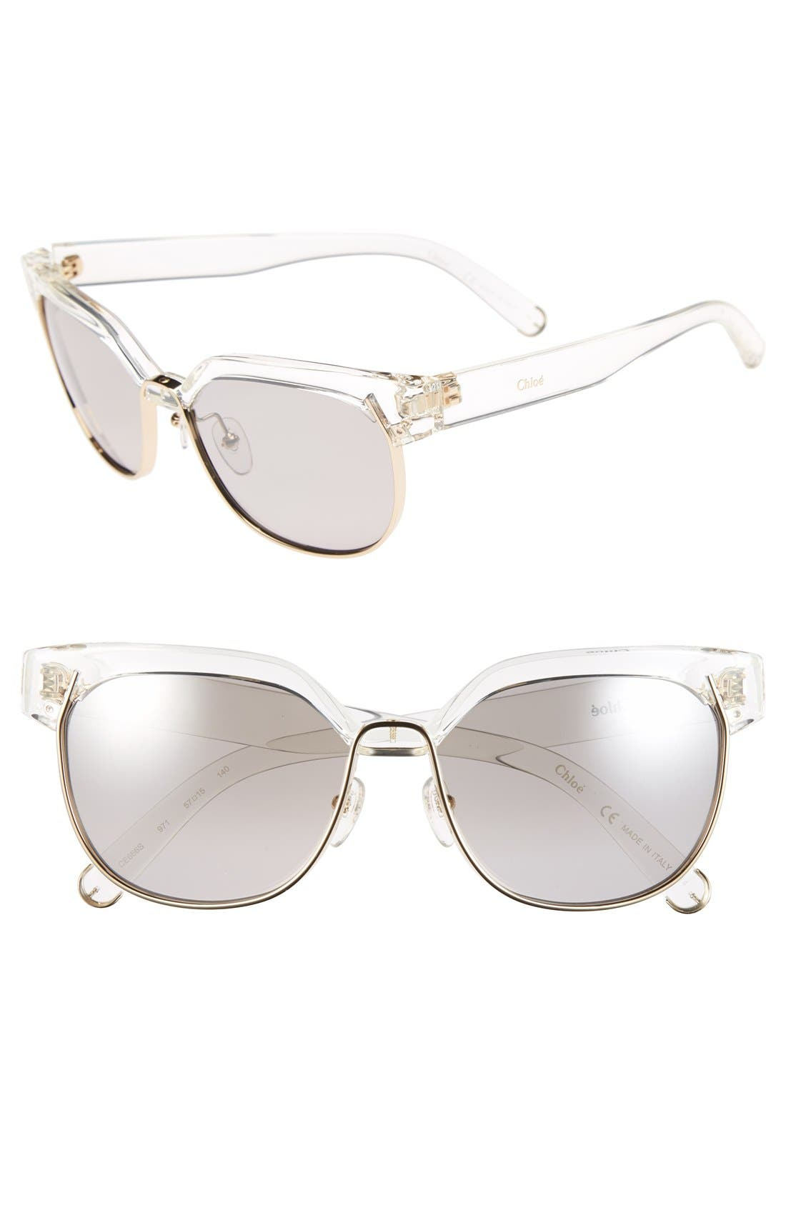 CHLOÉ 'Dafne' 57mm Gradient Sunglasses