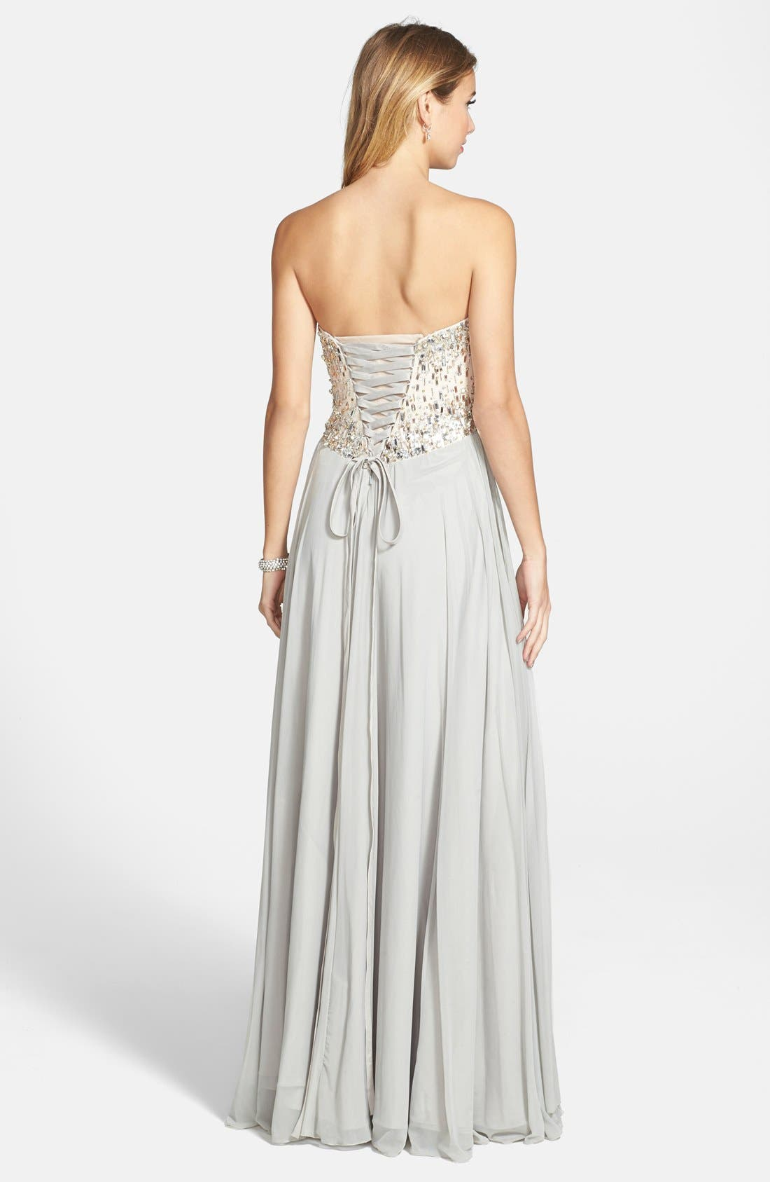 Alternate Image 2  - Terani Couture Embellished Strapless Chiffon Gown