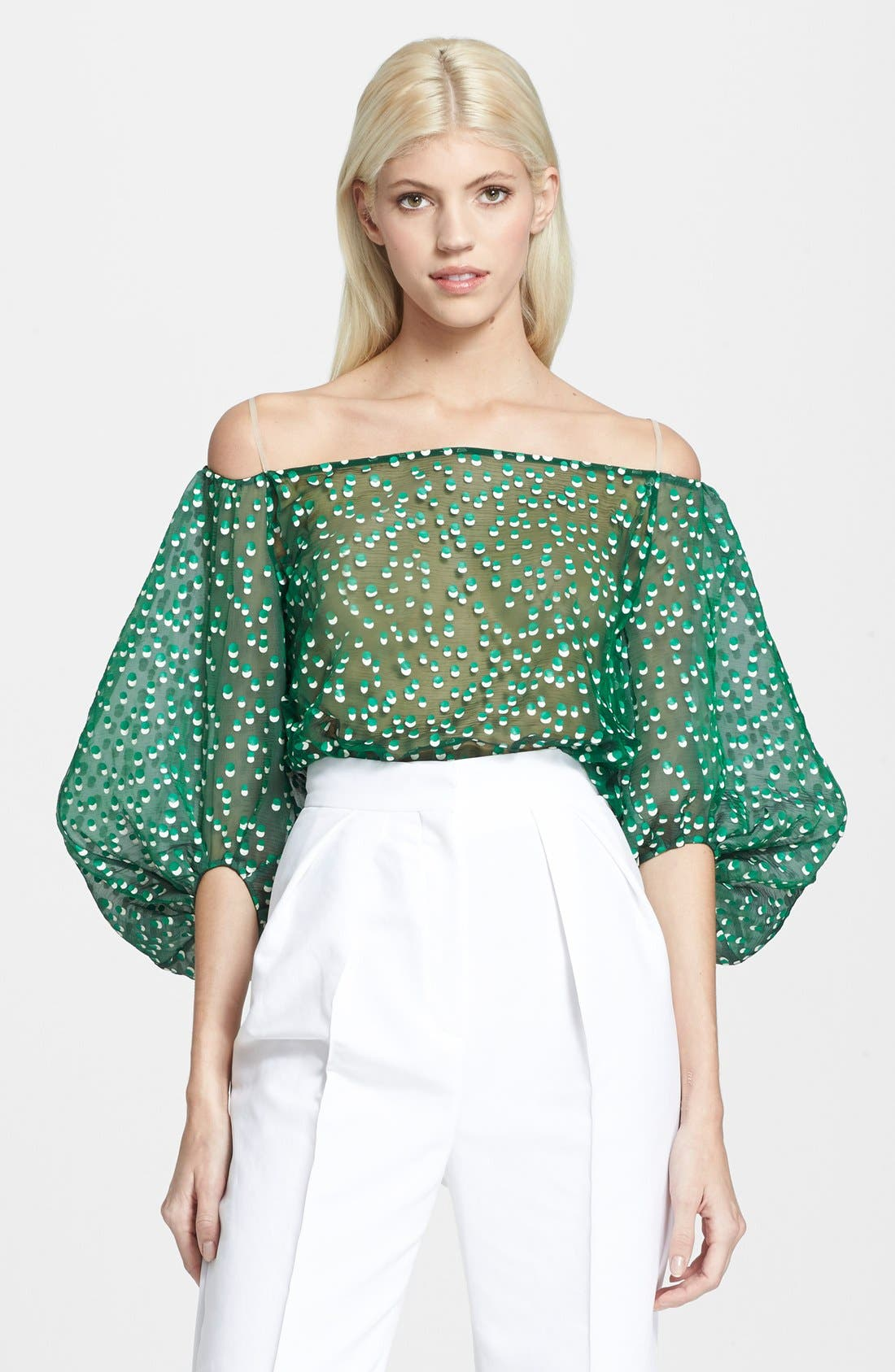 Main Image - Vika Gazinskaya Polka Dot Off the Shoulder Décolletage Blouse
