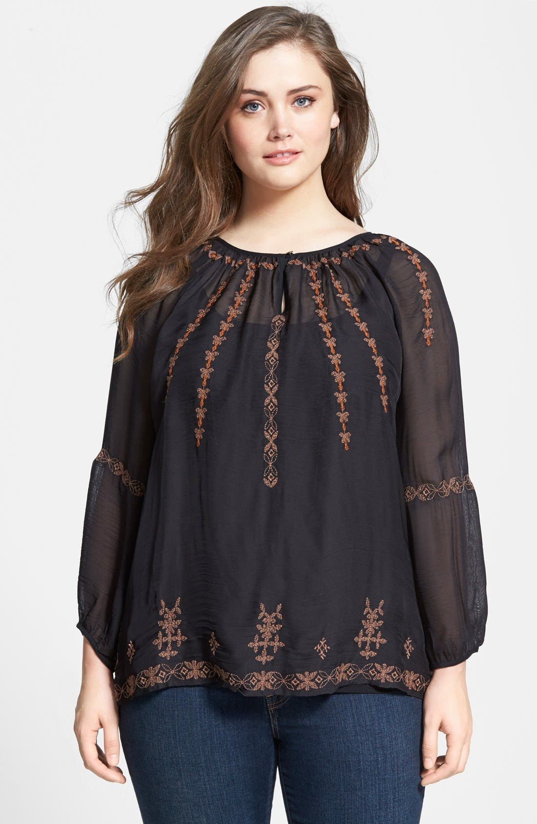 Alternate Image 1 Selected - Lucky Brand Embroidered Peasant Top (Plus Size)