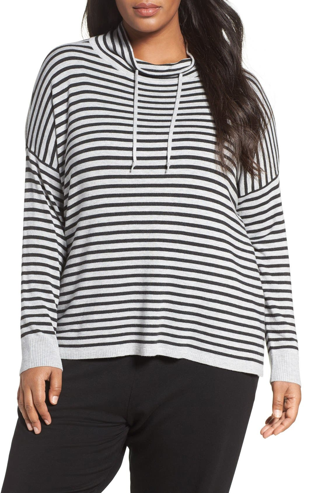 Alternate Image 1 Selected - Eileen Fisher Stripe Funnel Neck Pullover (Plus Size)