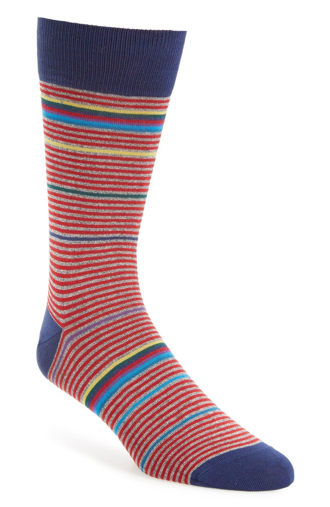 BUGATCHI 'Rainbow Stripe' Socks
