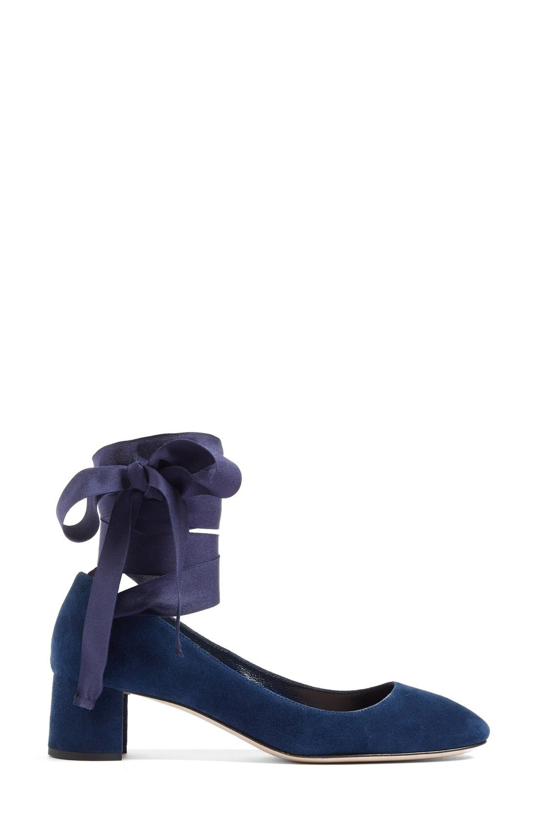 Alternate Image 4  - Miu Miu Ribbon Lace Wraparound Pump (Women)